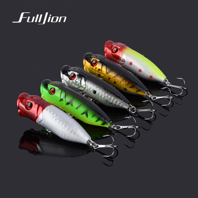 5pcs/lot Fishing Lures Hard Lure Popper Wobblers Fishing Tackle Bait Crankbait Isca With High Carbon Steel Hooks