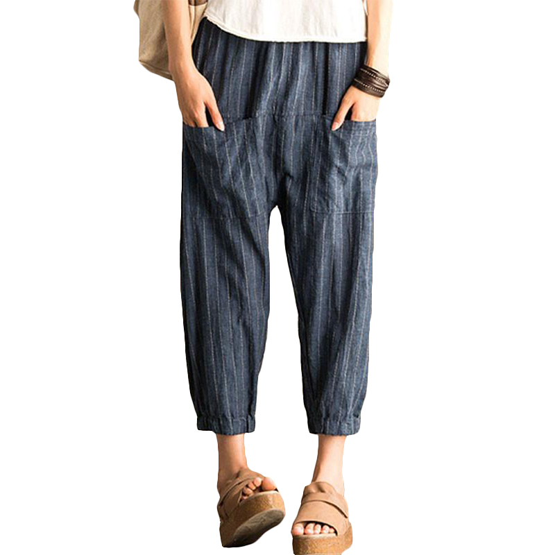Female Vintage Elastic Waist Striped Harem   Pants     Wide     Leg     Pants   Ladies Casual Loose Pockets Cotton Linen Baggy Turnip Trousers