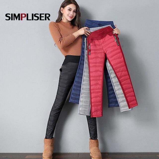2018 Femme Pantalon Vers Le Bas Coton Femmes Hiver Pantalon Noir Rouge Femelle  chaud Crayon Pantalon 3ee8c02759d6