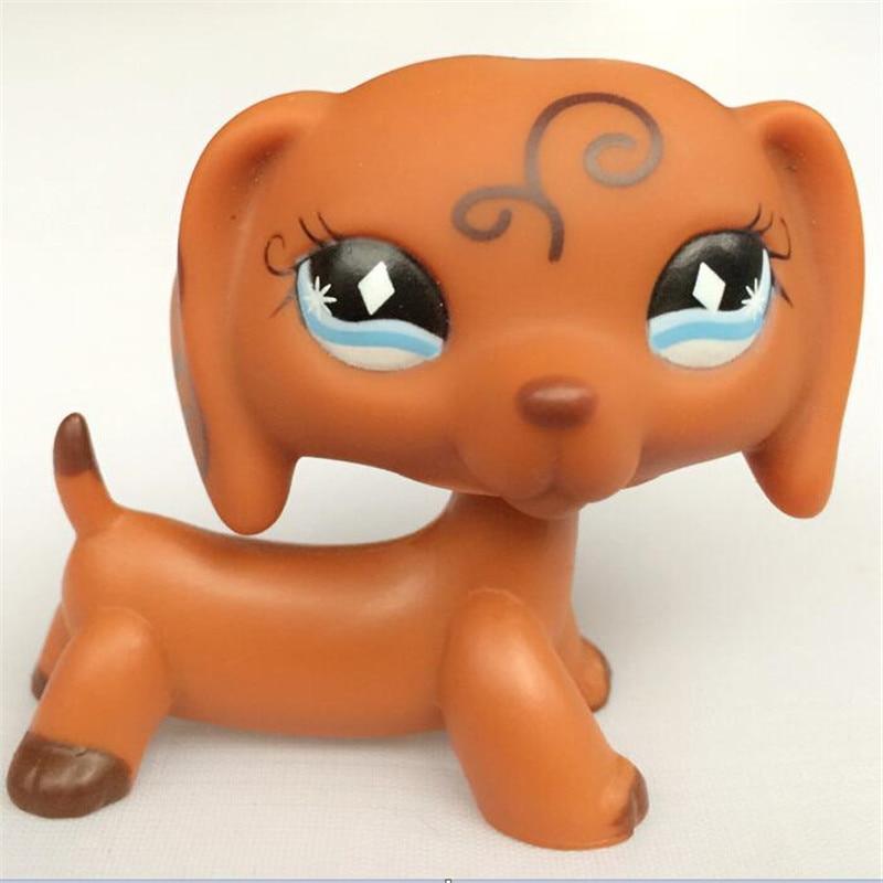 Pet Genuine Original LPS Dog Dachshund Brown With Diamond Blue Eyes Puppy figure Toys pet shop lps toys dachshund 556 light brown sausage dog pink heart green eyes