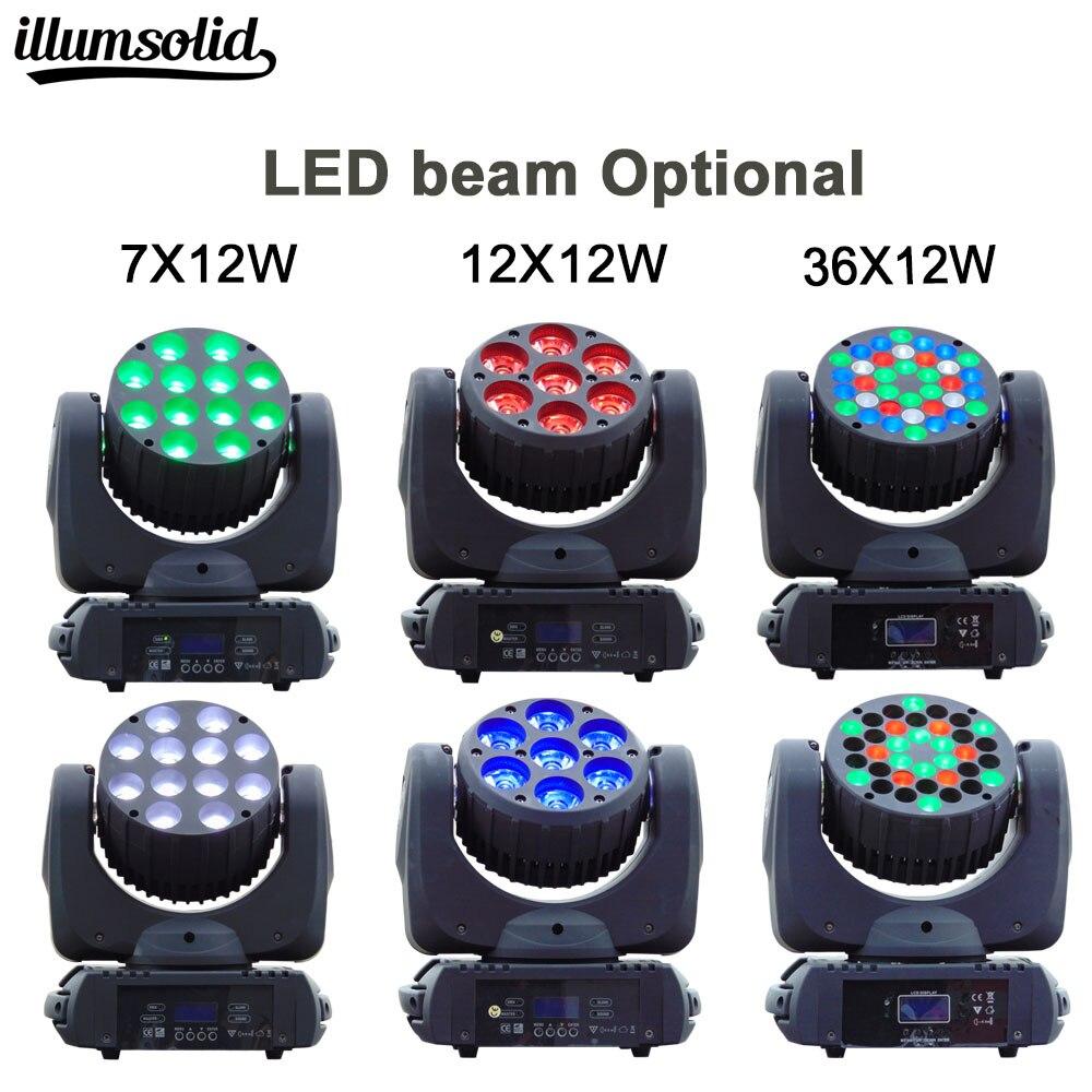 Beam moving Head Light 7X12, 12x12w and 36X3W RGBW Quad LED DMX For Professional Stage DJ 2pcs lot fast shipping led beam 36x3w moving head light 36x3w rgbw with dmx 9 16 channels