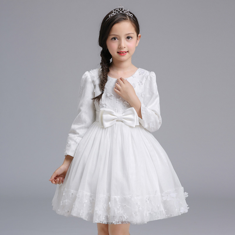 Kids Princess Dresses For Baby Girls Baby Costume Party Christmas Wedding Clothes Children Long Sleeve Dress Toddler Dresses new 2017 baby girls ruffle sweater dress kids long sleeve princess party christmas dresses autumn toddler girl children clothes