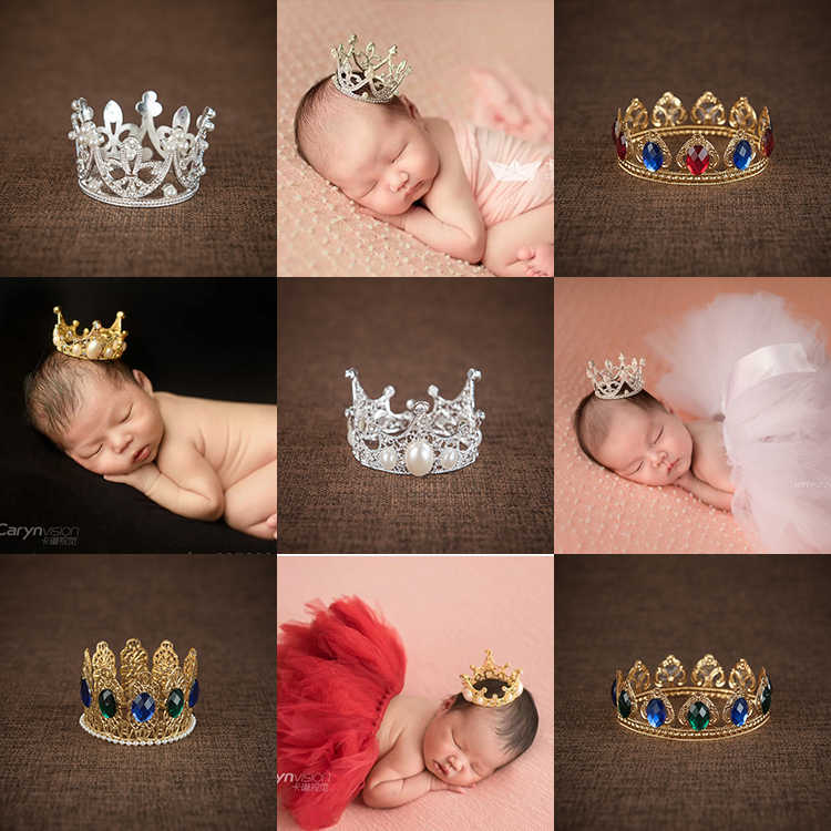 Baroque baby full of children's golden jewel photography small crown tiara crown newborn photography prop