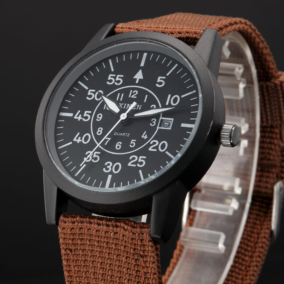 XINEW Brand Watches Big-Face Calendar Quartz Stainless-Steel Casual Fashion Mens Back