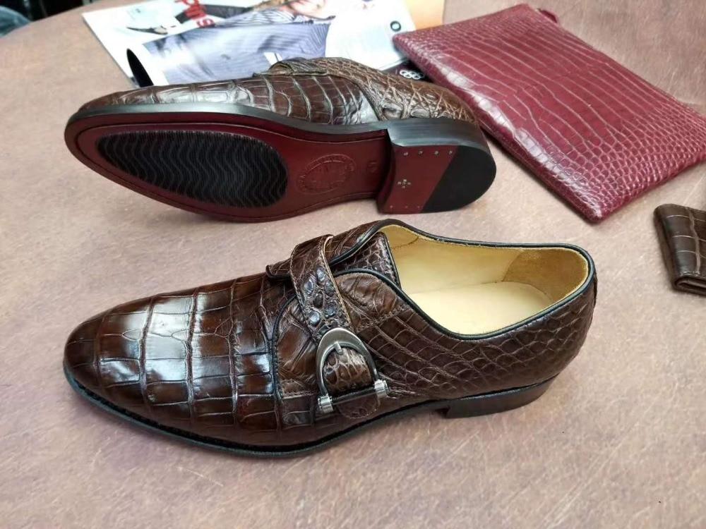100% Genuine real crocodile belly skin men shoe durable solid brownc color glossy crocodile belly skin men business dress shoe 100% Genuine real crocodile belly skin men shoe durable solid brownc color glossy crocodile belly skin men business dress shoe