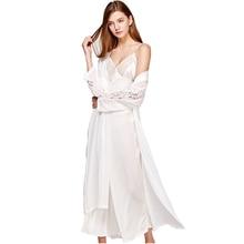 купить Sexy Sling Dress Sleeping Robe Two-Piece Faux Silk Sleepwear Women Elegant Lady Lace Long-Sleeve Nightgowns Bathrobes T0008 дешево