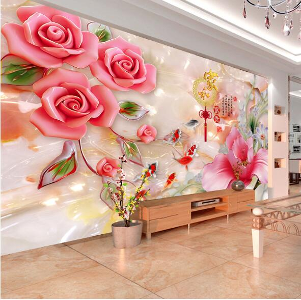 Custom any size 3D wall mural wallpapers for living room abstract murals large photo wall decoration flower wall paper