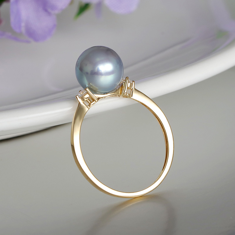 YS 14k Solid Gold 8-8.5mm Silver Blue Japanese Akoya Saltwater Pearl Ring Wedding Fine Jewelry
