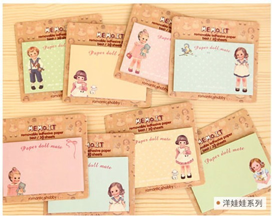 24pcs/lot NEW doll girl Notepad sticky note Memo message post Removable adhesive paper Wholesale