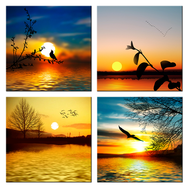 sunset silhouette painting canvas prints seascape with flying sea