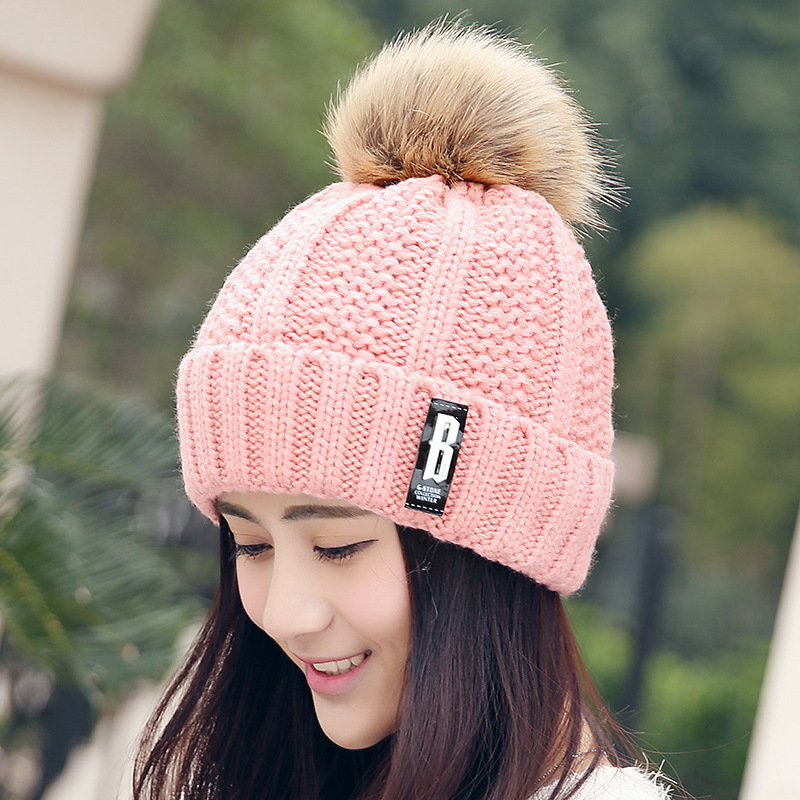 Letter Fashion Beanies&Skullies Bonnet Femme Women Warm Woolen Winter Hats Knitted Fur Cap for Women Gorros Thick Female Cap skullies