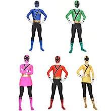 Crianças power samurai sentai shinkenger traje lycra samurai rangers cosplay halloween vermelho/rosa/azul/verde/amarelo ranger terno