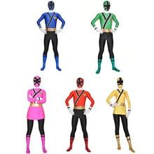 เด็กPower Samurai Sentai Shinkengerเครื่องแต่งกายLycra Samurai Rangersคอสเพลย์ฮาโลวีนสีแดง/สีชมพู/สีฟ้า/สีเขียว/สีเหลืองrangerชุด