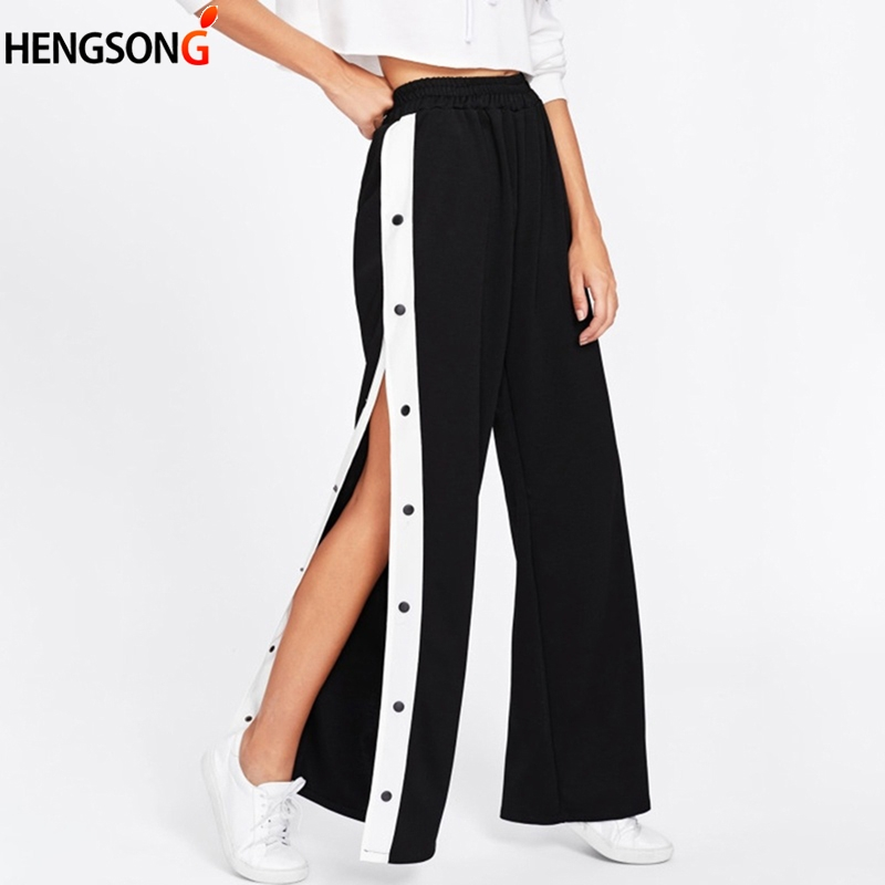 Side Buttons Split Tennis Pants Women Sports Pants Loose High Waist Long Wide Leg Workout Gym Fitness Pants