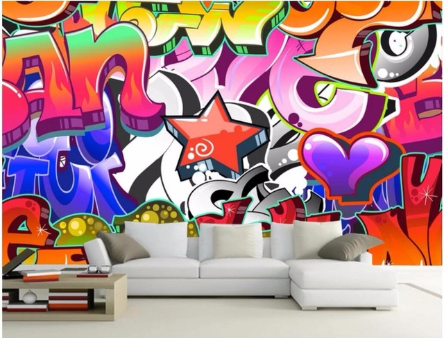 Custom Mural Photo Wallpaper Bright Color Graffiti Bar Ktv Background Wall Painting Murals