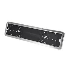 In Acciaio Inox Auto License Plate Frame Della Copertura Holder Russo Europeo/Tedesco Del Nastro/Nero Con 4 Viti Accessori Esterni