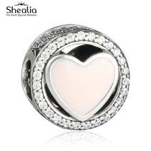 2017 San Valentín Maravilloso Amor Charms Beads Fit Pandora Pulseras de Plata de ley 925 Pink Esmalte AAA CZ Corazón de Los Granos DIY SHEALIA