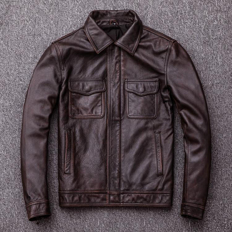 HTB1kTWClDqWBKNjSZFAq6ynSpXar MAPLESTEED Brand Vintage Leather Jacket Men 100% Cowhide Red Brown Black Natural Leather Jackets Men's Leather Coat Autumn M174