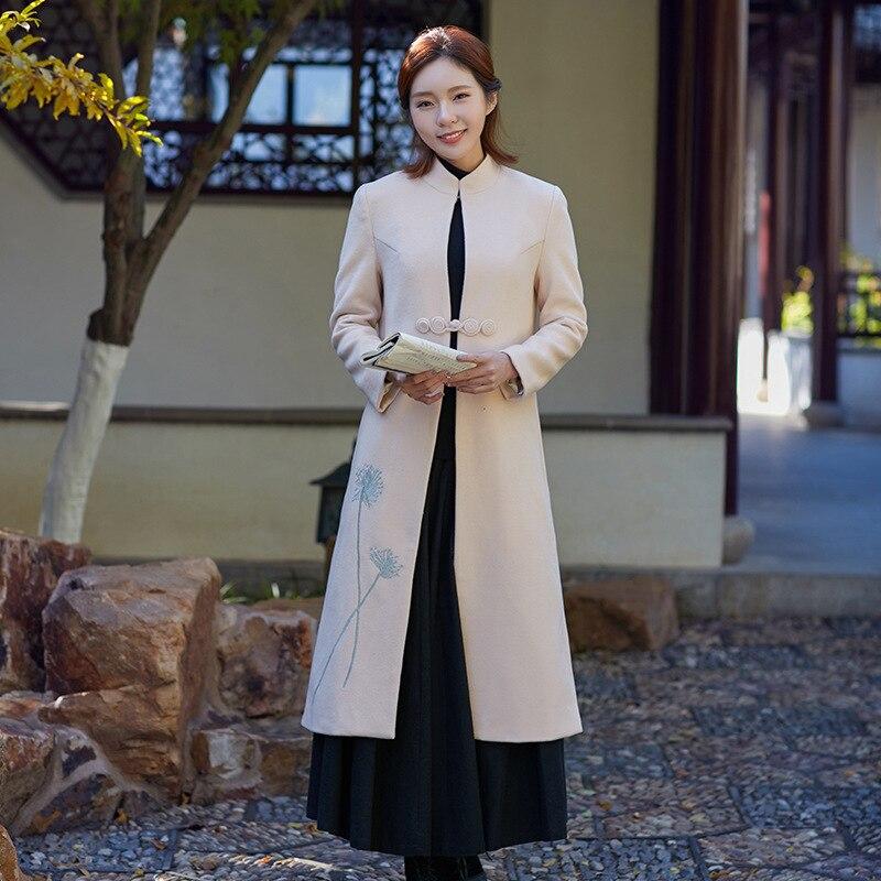 Laine De Service Longue Épaississement Vintage Manteau Femmes Brodé Kaki Zen Femelle Art Style Thé Section Chinois wqaatgnXT