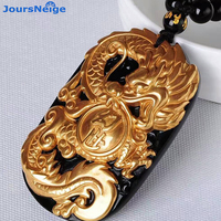 JoursNeige Wholesale Gold Natural Black Obsidian Carving Dragon Lucky Amulet Pendant Luck For Women Men Pendants Fashion Jewelry