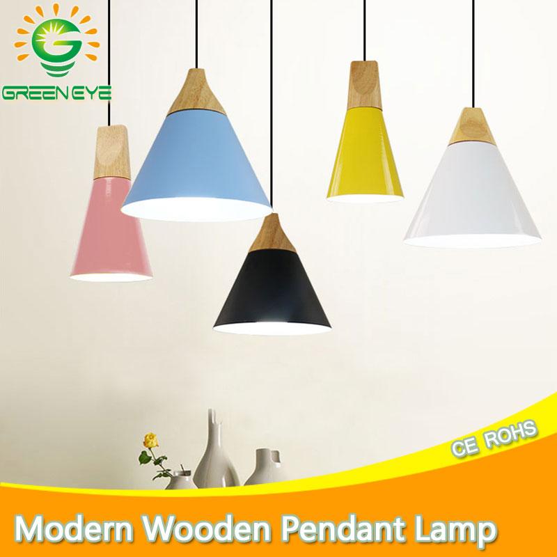 Modern pendant lights Lamparas led lamp Colorful Aluminum lamp shade Wood Pendant Lamp Dining Room Lights For Home Lighting free shipping modern pendant lights indoor lighting lustres home decoration colorful lamp green yellow blue aluminum for kitchen