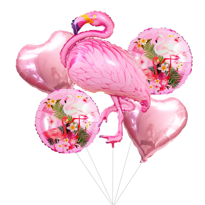1 Set Large Flamingos Foil Balloon Heart Helium Balloons for Wedding Happy Birthday Party Decor Baby Shower Balloons button