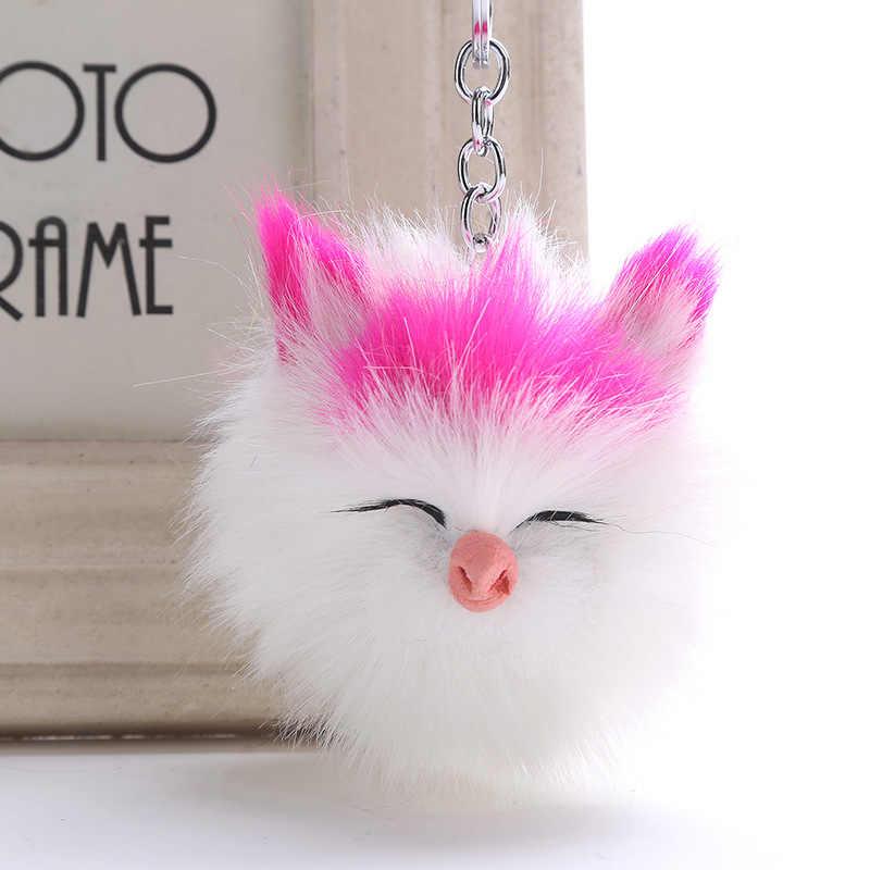 Fofo Coelho Bola De Pêlo Pompom Gato Gatinho Bonito KeyChain Chaveiro Titular Chaveiro de Couro Pu Animal Cão de Estimação Saco de Charme chaveiros