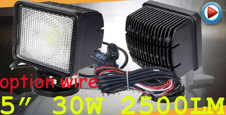 Free DHL/UPS Ship,5 30W 2500LM 10~30V,6500K,LED working light;Free ship!Optional wire;motorcycle light,forklift,tractor light only 48usd pcs 5 5 27w 2400lm 10 30v 6500k led working light free ship optional wire motorcycle light forklift tractor light