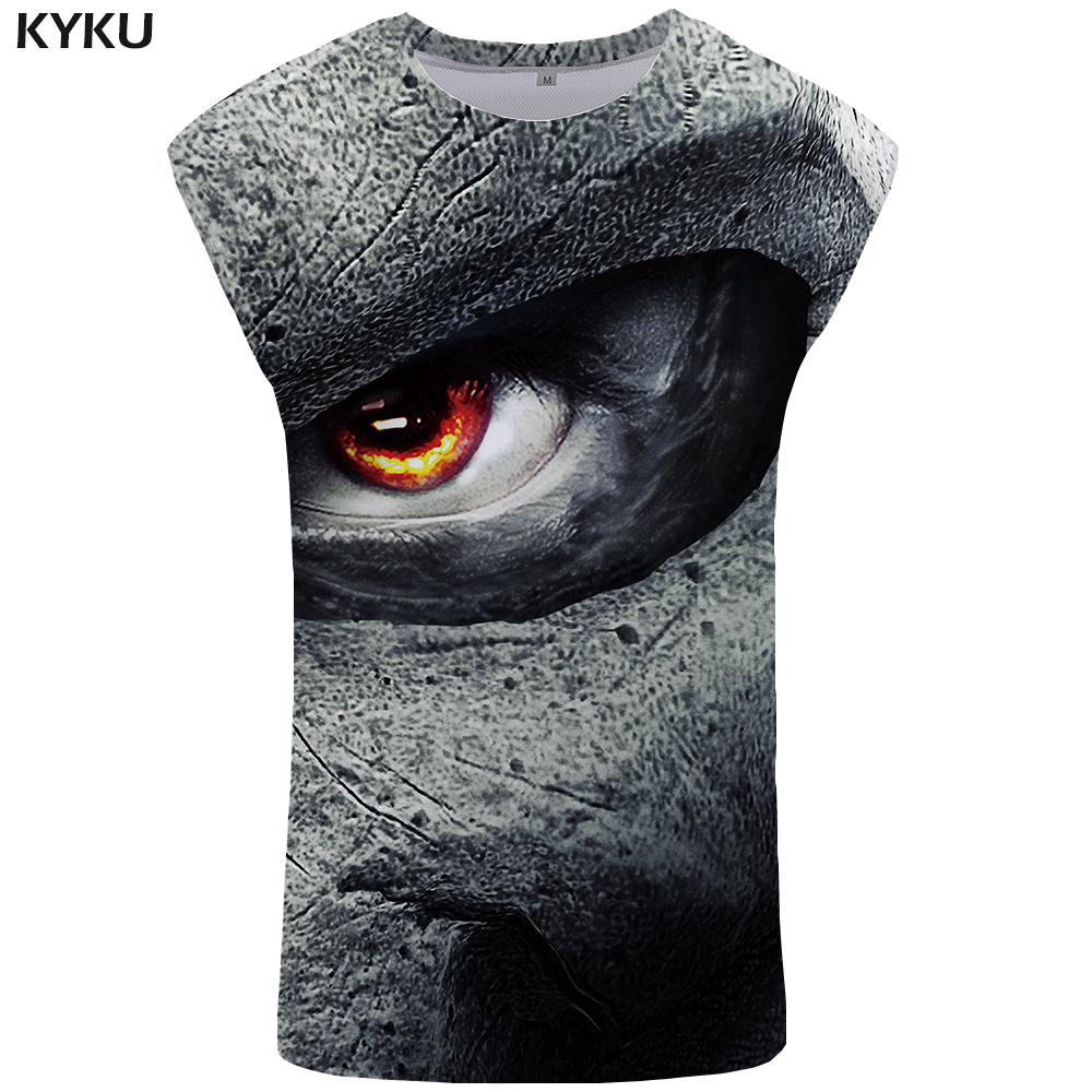KYKU Brand Skull   Tank     Top   Mens Punk Vest Bodybuilding Ftness Stringer Men Clothing Undershirt 2018 Rock Sleeveless Shirt