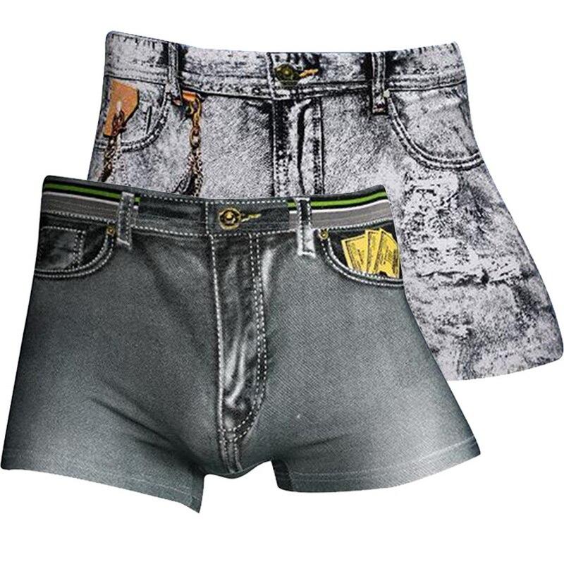 MJARTORIA Men 3D Jeans Print Boxers Fashion Sexy Breathable Underwear Casual High Elastic Soft Thin Comfortable Short Pants