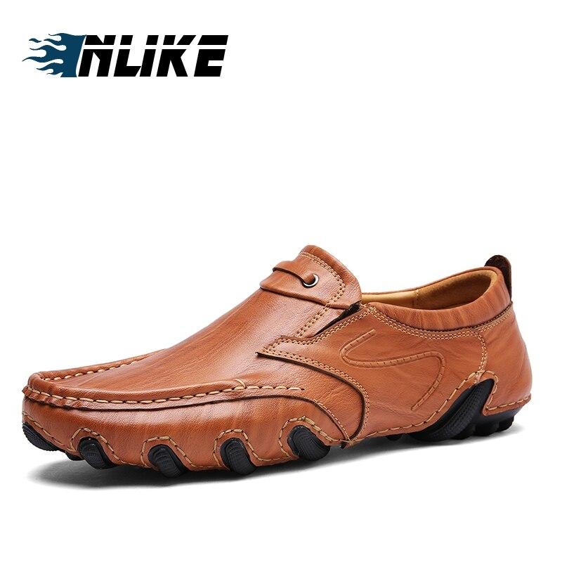 brown khaki Casual Chaussures Black Véritable amp; De Inlike Pour Mode Slip En Vache Cuir Conduite Hommes on Mocassins TwUzq4ax