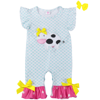 New Design Cow Embroidery Infant Romper Baby Girl Outfit Baby Newborn Cotton Boutique Clothes Romper GPF801