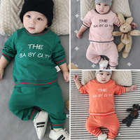 Baby Fall Clothing Sets Cotton T Shirts Long Pants Letter Jumpsuits Boys Girls Sweatshirts Coat Sets