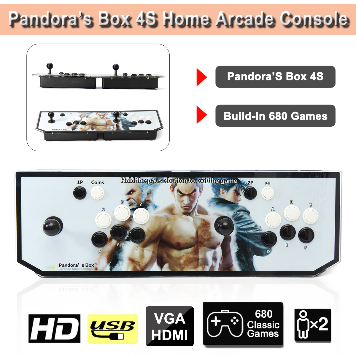 680 Games Double Stick Arcade Console Game Box 4S Street Fighter HDMI VGA Coin Operated Games Video Arcade Machine arcade fighting game machine virtua fighter 5 games motherboard