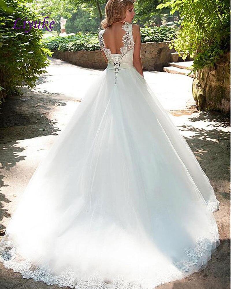 Maravilloso vestido de Bola Vestido de Novia de Encaje Y Tul de Alta Cuello Rebo