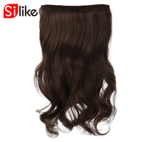 Silike 60cm Stretched Wavy Clip In Synthetic Hair Extensions 17 Pure Colors 190g 4 Clips Piece