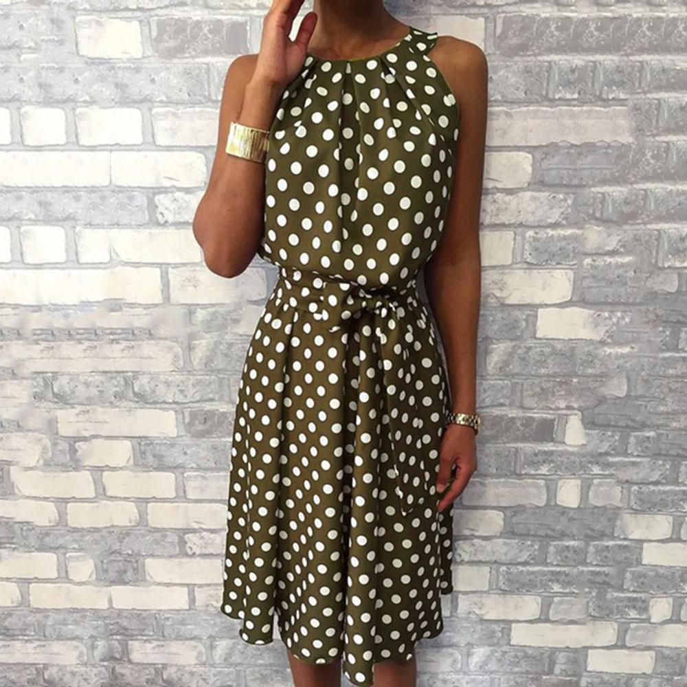 Feitong Women Halter Dress Summer Fashion Polka Dot Knee-Length Dress Sleeveless Dresses Off Shoulder Casual Loose Dress 2019
