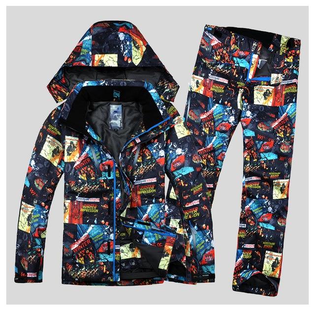 Зимний мужской лыжный костюм, ветрозащитная водонепроницаемая куртка для сноуборда и катания на лыжах + штаны, новинка 2018, Мужская лыжная одежда, Водонепроницаемая дышащая