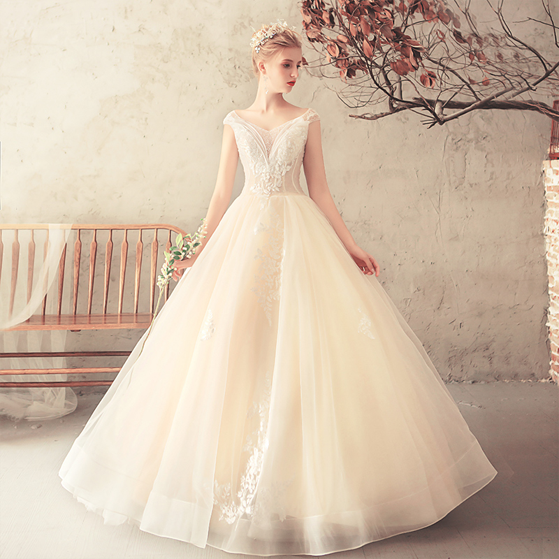 Disney Wedding Dresses 2019: Ruthshen Princes Ball Gown Sequins Beaded V Neck Illusion