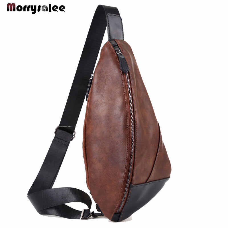 Men's Chest Package Multi-function Oblique Bag Leisure Shoulder Bag Leather Boy Chest Bags