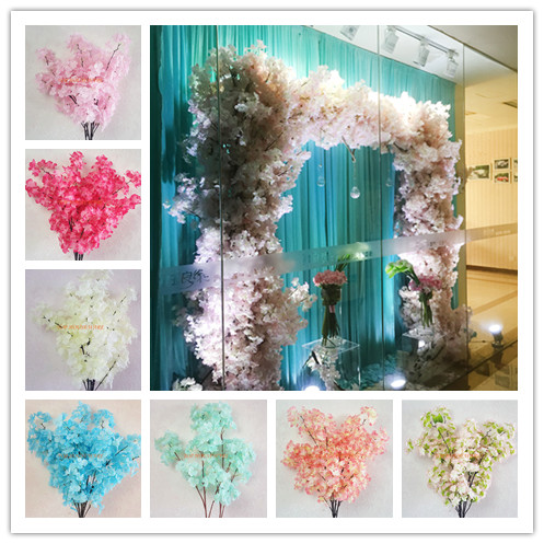 6pcs 4Forks Artificial Sakura Branches Cherry Blossom Pink ...