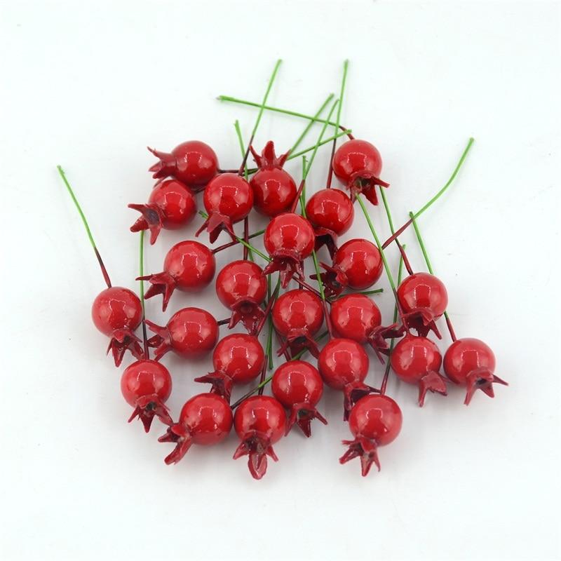 20 шт. Малый с стволовых декоративный гранат фрукты ягоды искусственный цветок Красный Рождество Cherry тычинки Свадебные украшения