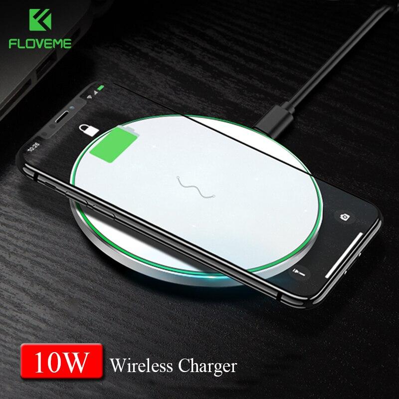 FLOVEME Qi Caricabatterie Wireless per il Samsung S9 S8 più S7 bordo 10 W veloce Wireless di Carico del Caricatore per il iphone X 8 8 più Caricatori Pad