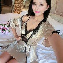 Vêtements de nuit Sexy dentelle évider chemise de nuit dos nu Lingerie intime Kimono pour femme peignoir robe ample maison vêtements déshabillé