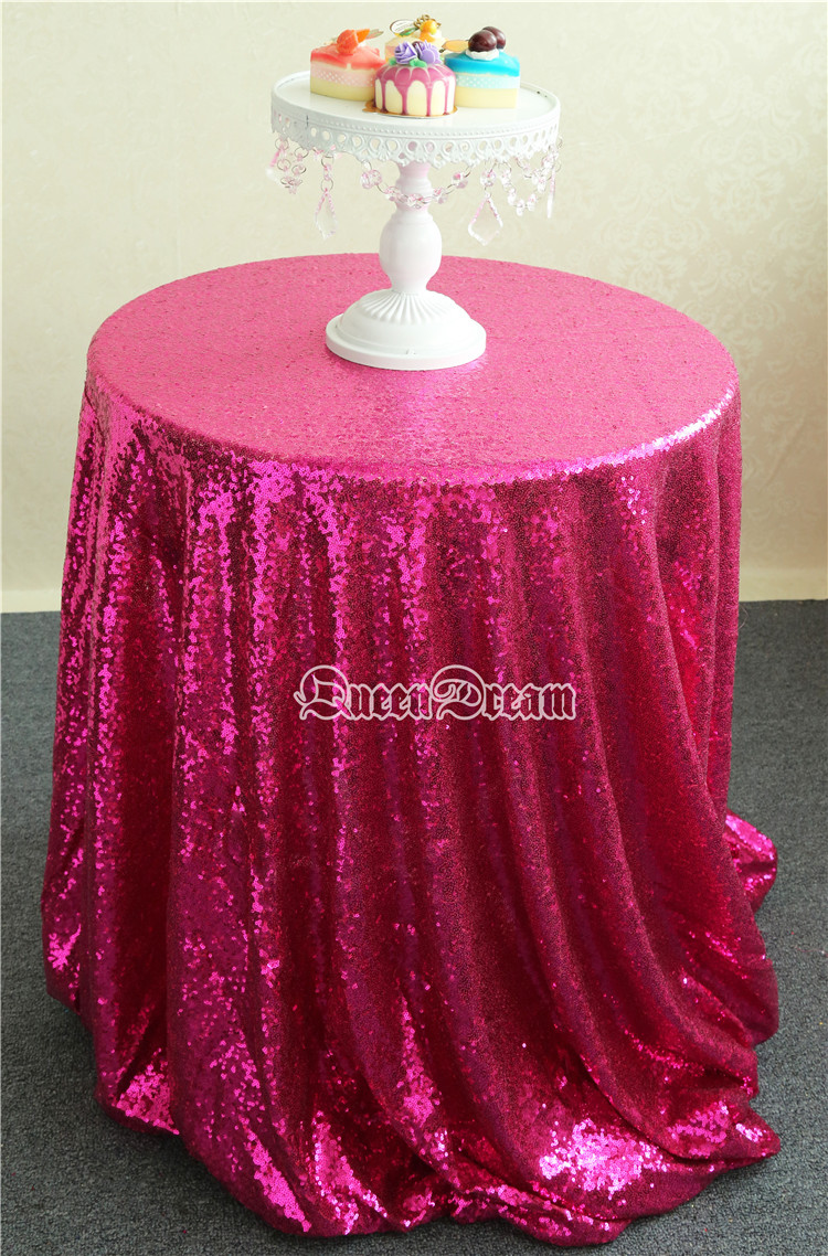 Hot Sale 132u0027u0027 Round Shimmer Fabric Tablecloth For Pageant/Feast/Prom/Party  Fuchsia Wedding Tablecloth