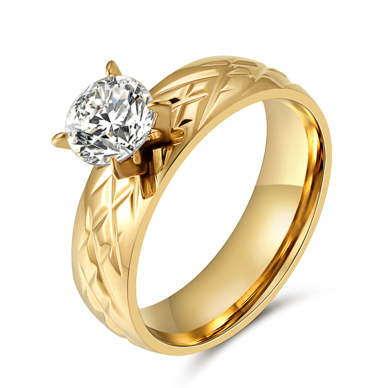 High Quality Stainless Steel Wedding Ring Gold Color Band