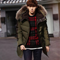 2016 Men's Parkas Jacket Winter Jacket Men Fashion Thickening Fur Hooded Army Green Down Jacket Mens Puffer Jacket Outwear S-XXL