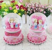 Pink Romantic Crystal Ball Music Box Eight Music Box Rotating Snow Crafts Decoration Love Crystal Ball