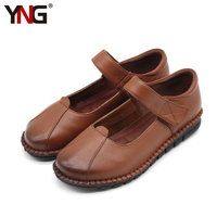YNG Women Marry Janes Wedges Heels Genuine Cow Leather Pumps Round Toe Black Brown Woman Dress