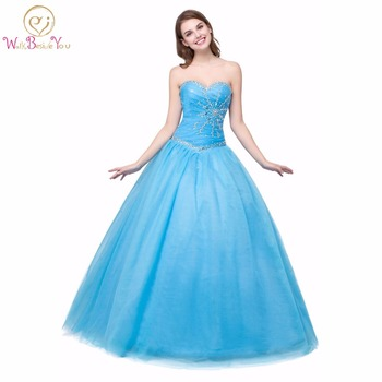 100% Real Images Princess Quinceanera Dresses Ball Gowns Coral Green Blue Girl Gowns Crystal Lace-up Floor Length Prom Dresses